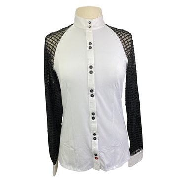 Levade Clothier 'Kate' Show Shirt in White/Black - Women's Large