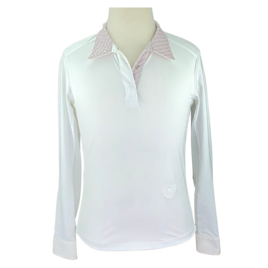 Essex Classic Talent Yarn Show Shirt in White/Pink and Grey Collar