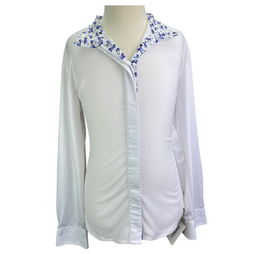 Ovation Ellie Tech Show Shirt in White/Horse Collar - Children's 16