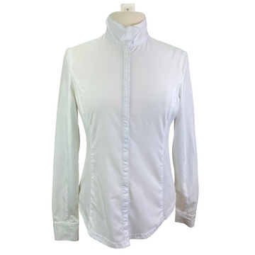 Goode Rider Long Sleeve Show Shirt in White - Women's Large