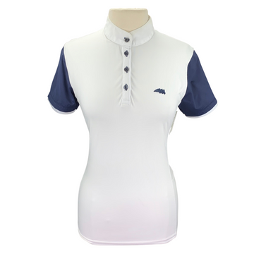 Equiline Competition Polo Shirt in White/Navy - Women's IT 46 (US Large)