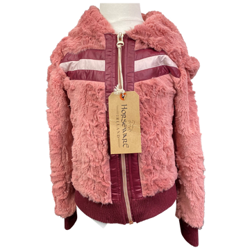 Horseware Super Luxe Faux Fur Hoodie in Pink/Burgundy