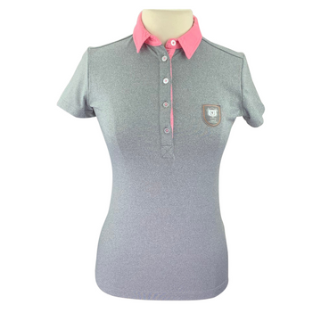 Asmar Equestrian 1/4 Button-Up Short Sleeve Polo in Grey/Pink Collar