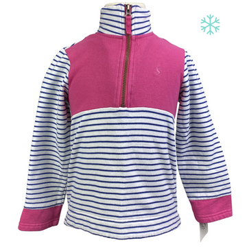 Joules 1/4 Zip Sweater in Pink/Navy and White Stripes