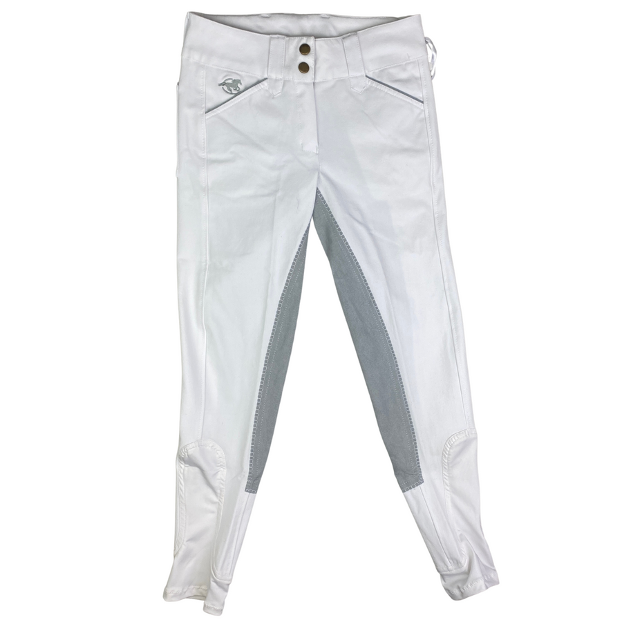 SmartPak Piper Full Seat Breeches in White/Grey Accents - Women's 22R