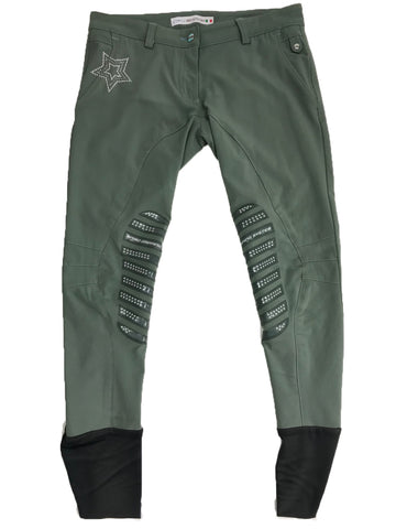 Animo Breeches in Olive Green -  Front View