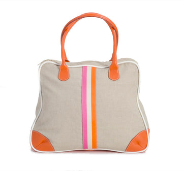 Oughton Limited Course Overnight Bag in Linen w/ Orange & Pink Surcingle - Overview