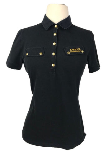 Barbour International Polo in Black - Front View