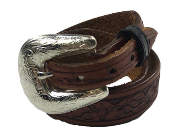Tooled Leather Belt in Cognac - 30