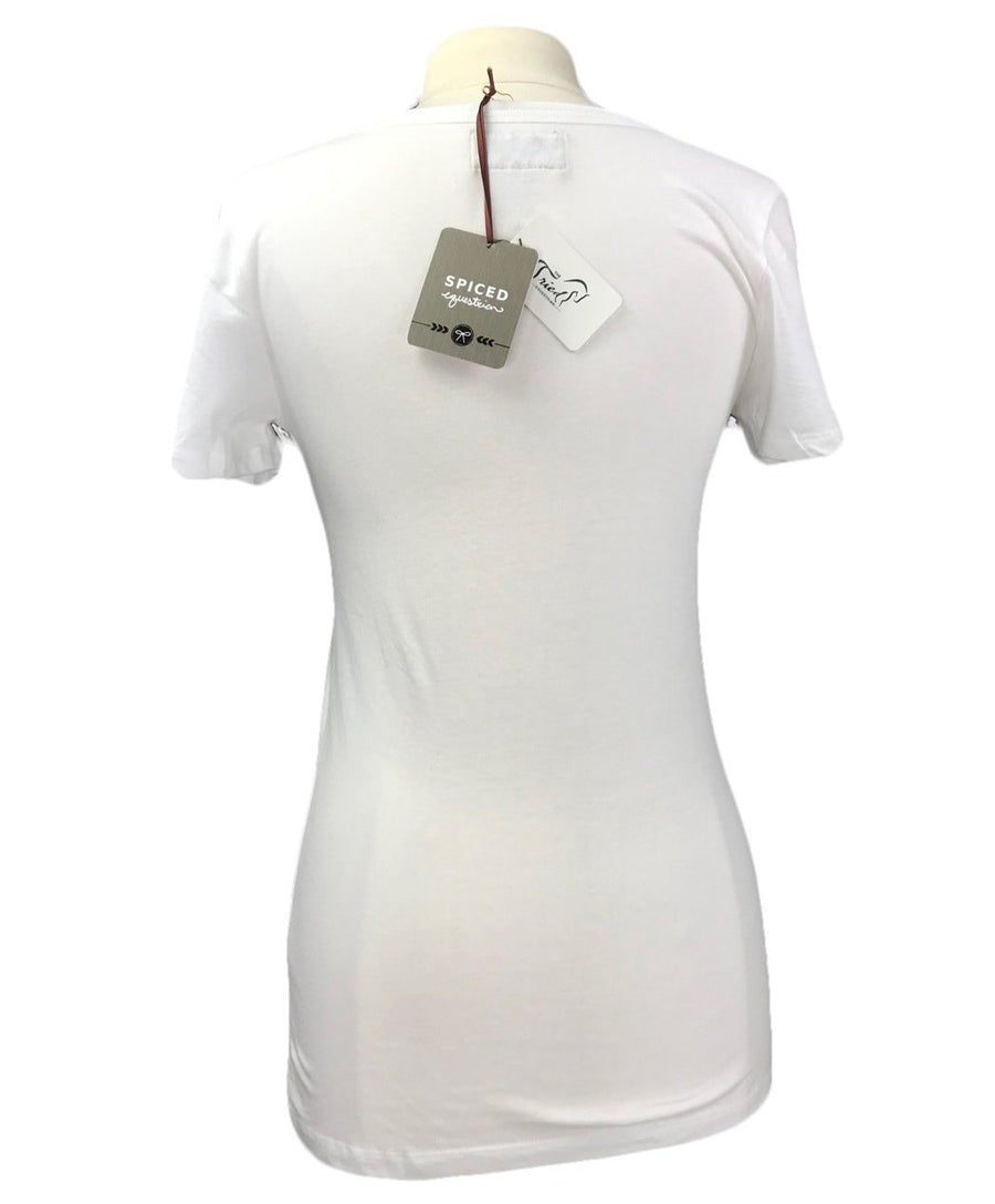 Spiced Equestrian Expensive Taste V-Neck in White - Women's Large