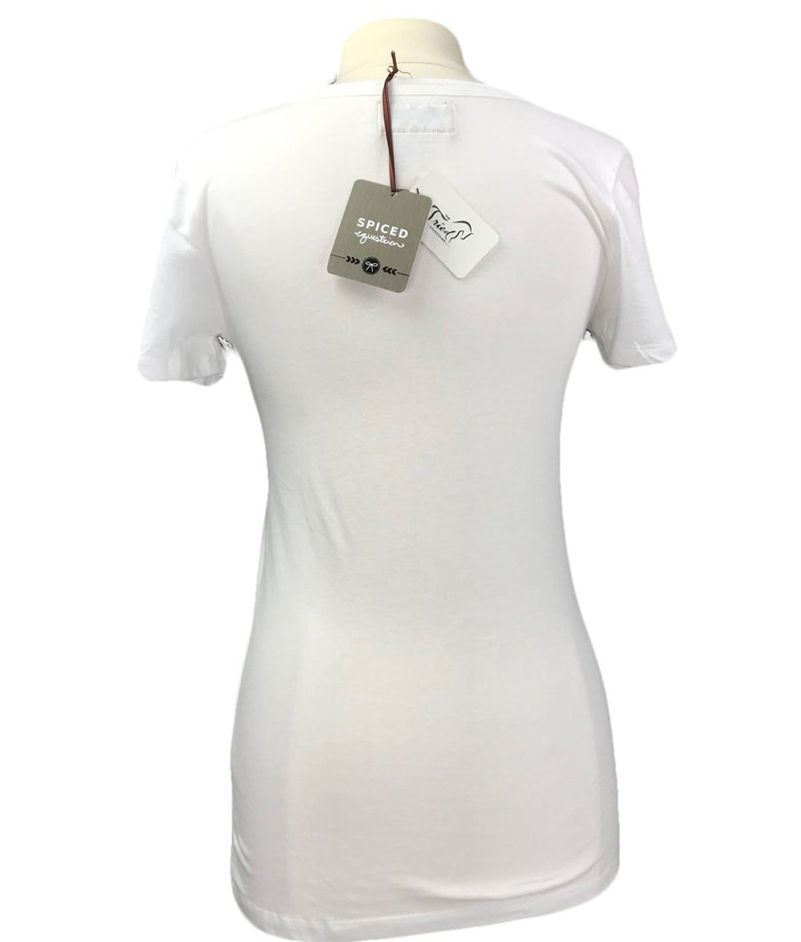 NWT Spiced Equestrian Expensive Taste V-Neck in White - Women's Medium