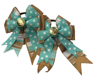 Show Bows in Mint/Beige - One Size