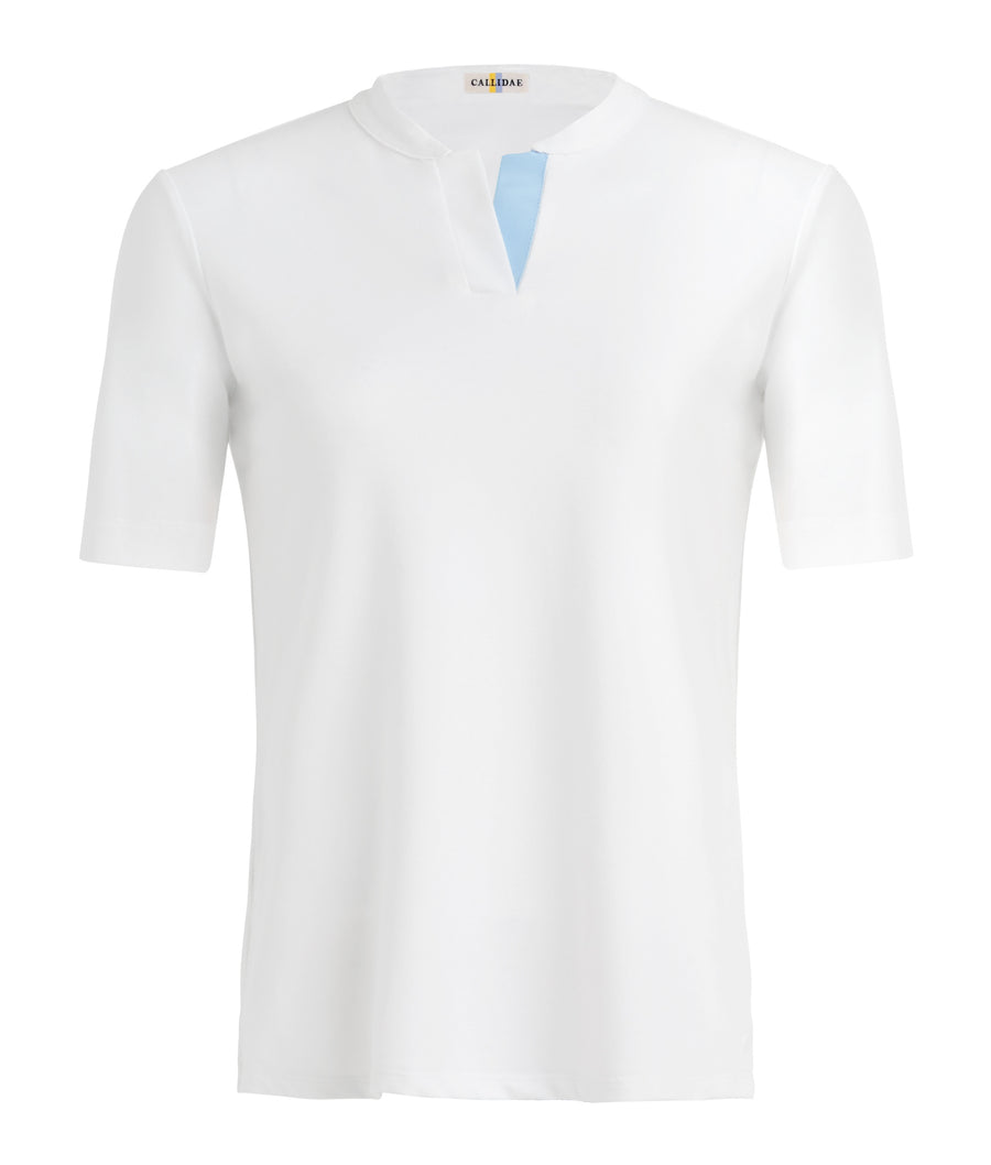 front view of Callidae Short Sleeve Polo in White/Blue Ribbon