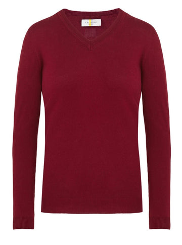 CALLIDAE The V Neck Sweater in Bloodstone