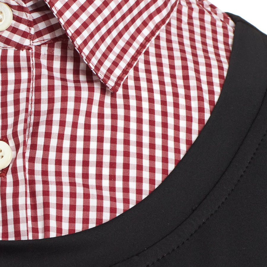 Close up of Callidae Red Gingham collar