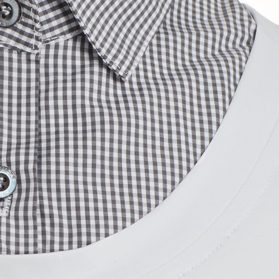 Close up of Callidae Grey Gingham collar
