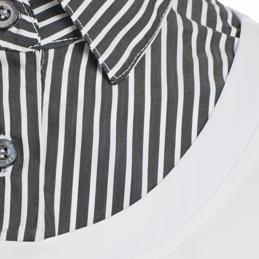 Black and White stripe Callidae  practice shirt collar close up