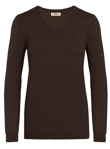 Callidae V-Neck Sweater in Brazil Nut