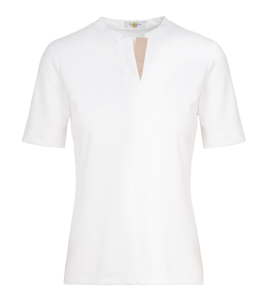 CALLIDAE Short Sleeve Polo in White/Tan Ribbon