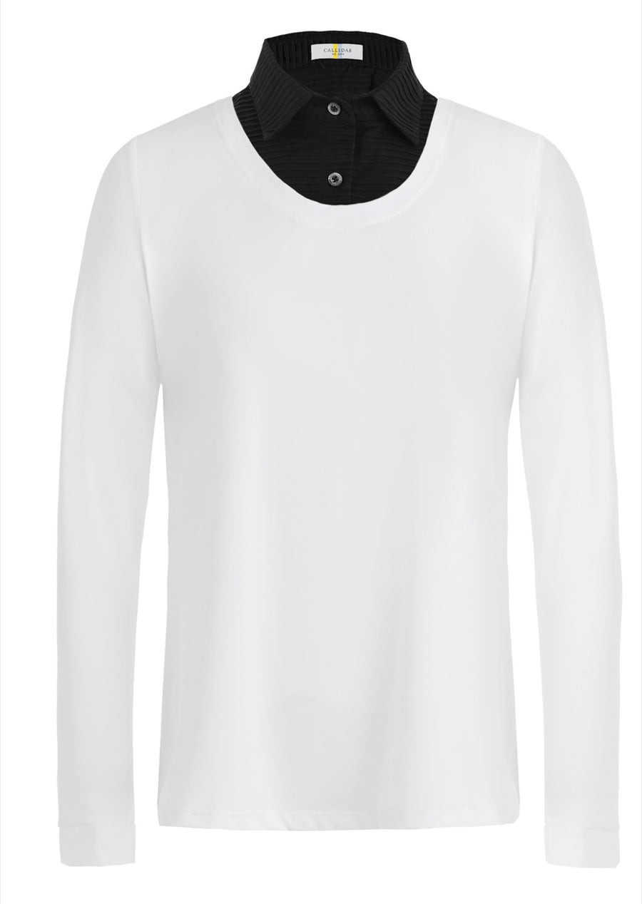Callidae Practice Shirt in White with Black Pleats