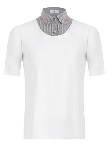 Callidae Short Sleeve Practice Shirt in White/Grey Gingham