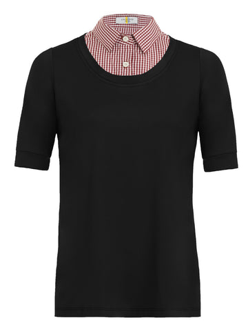 Callidae Short Sleeve Practice Shirt in Black with Red Gingham