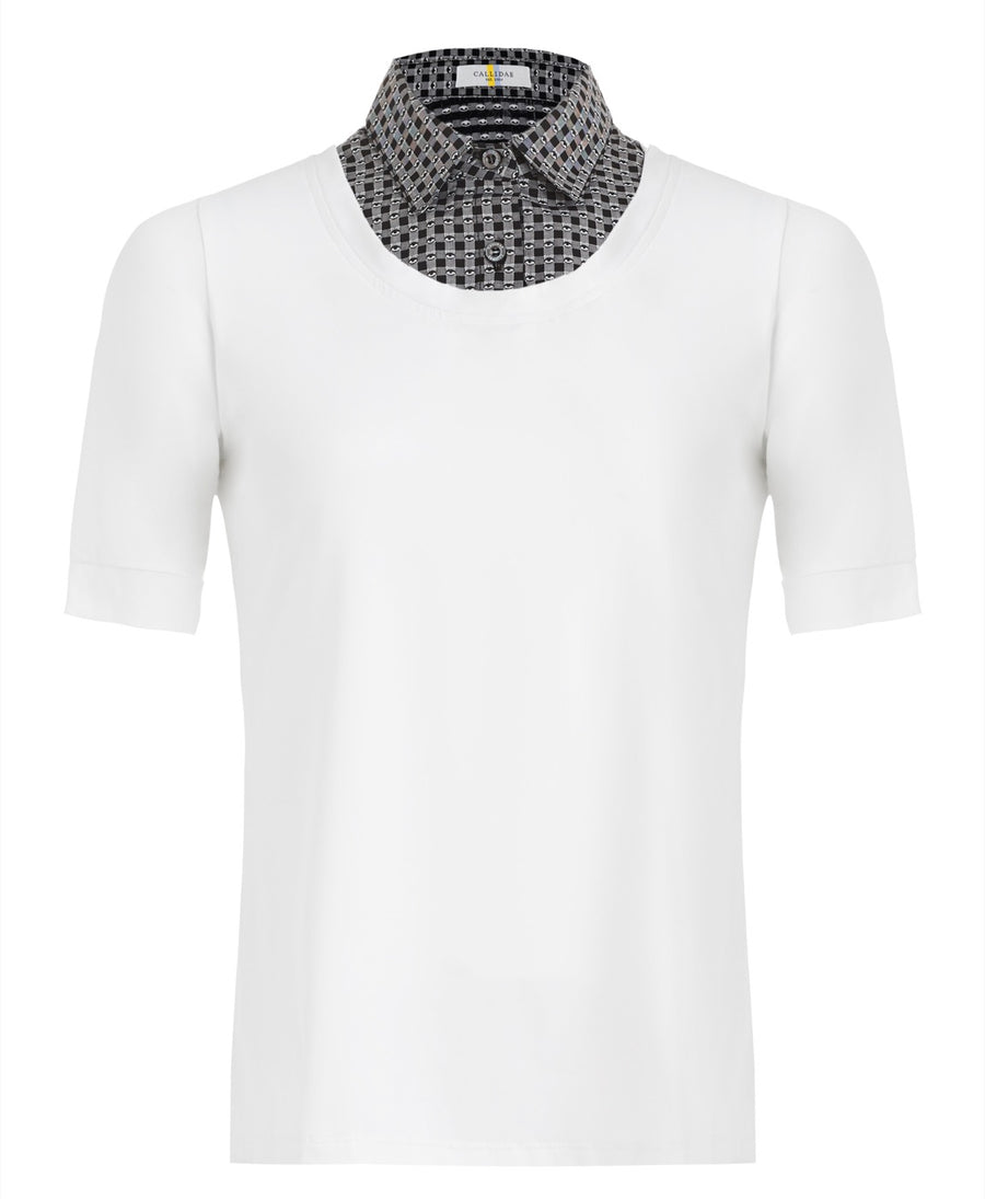 Callidae Short Sleeve Practice Shirt in White/Black Eyes
