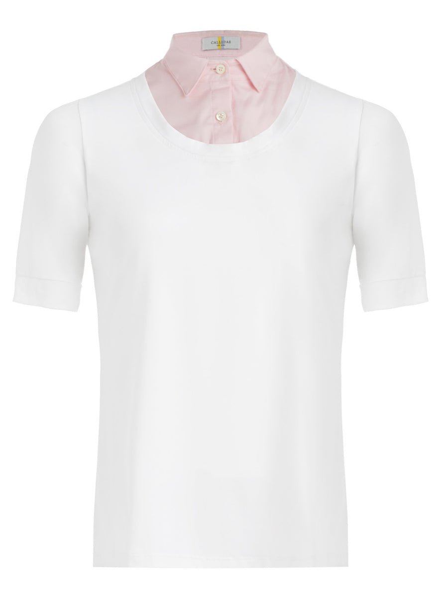 Callidae Short Sleeve Practice Shirt in White/Pink Pique
