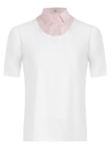 Callidae Short Sleeve Practice Shirt in White/Pink Pique - Women's XS