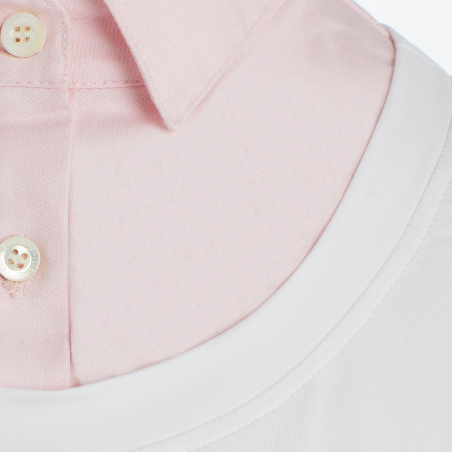 Pink PIque collar on Callidae Practice Shirt Close Up