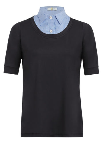 Callidae Short Sleeve Practice Shirt in Black with Blue Heart Gingham