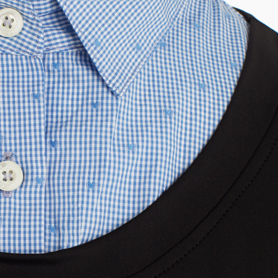 Close up of Blue Gingham heart collar