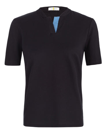 Callidae Short Sleeve Polo in Black/French Blue Ribbon