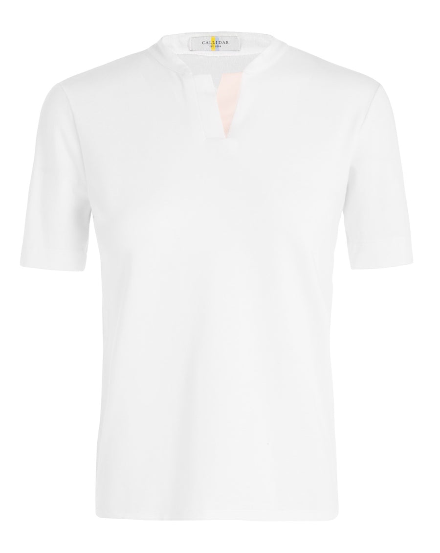 front view of Callidae Short Sleeve Polo in White/Light Pink Ribbon