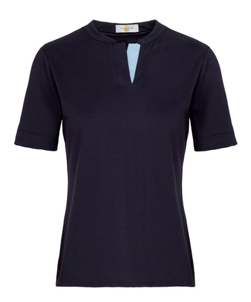 Callidae Short Sleeve Polo in Navy with light blue ribbon