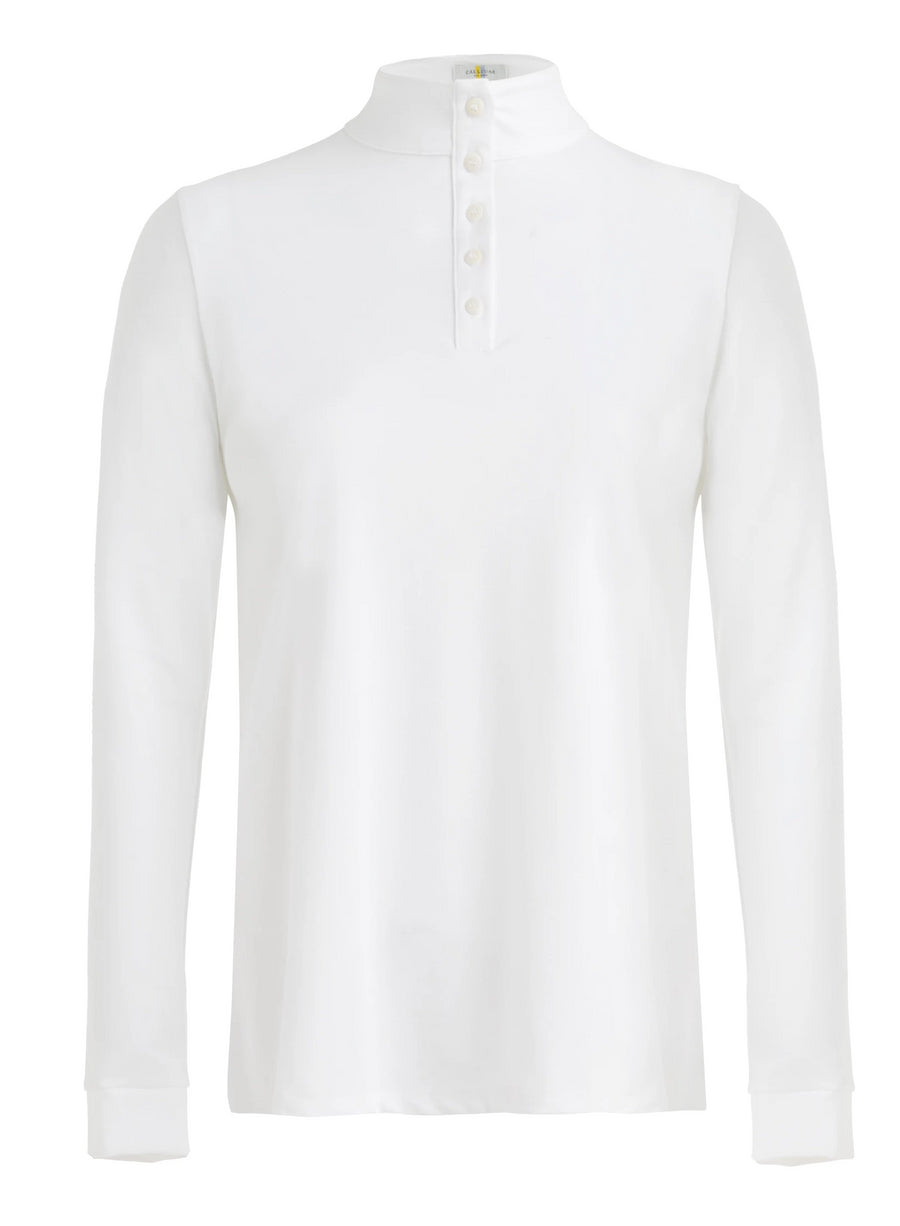 Callidae long sleeve polo in white