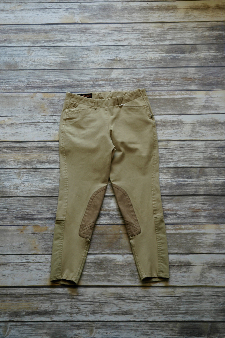 Ariat Side Zip Khaki Breeches - Front View