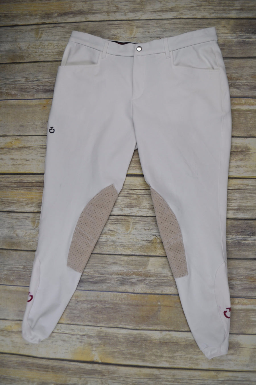 Cavalleria Toscana Perforated Knee Patch Breech in White - Front View