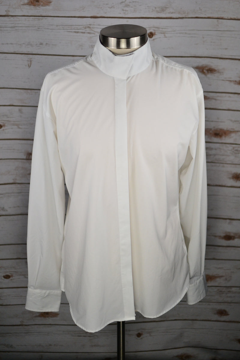 RJ Classics Cool Stretch Show Shirt in White w/Navy Collar - Women's 42