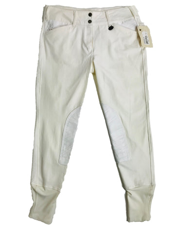 Equine Couture Debbie Stephens Knee Patch Breeches in White - Women's 30 | M/L