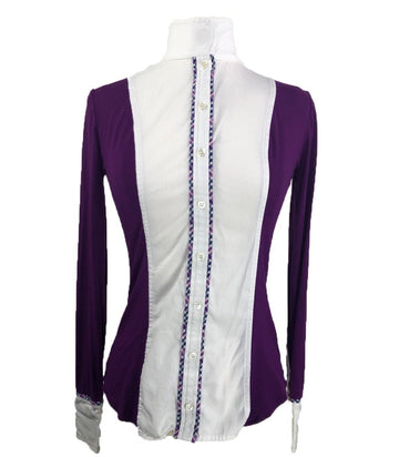 Le Fash Open Placket Shirt in White/Eggplant - Women's XS