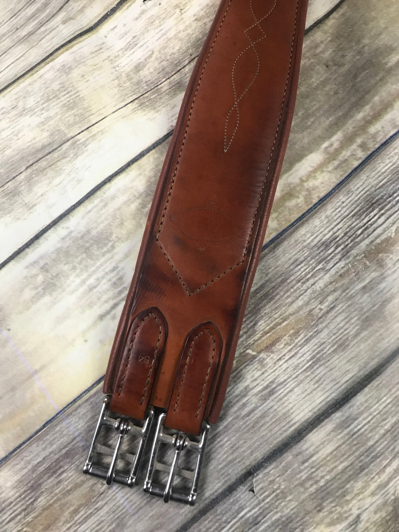 Edgewood Fancy Stitched Overlay Girth in Chestnut - 54""