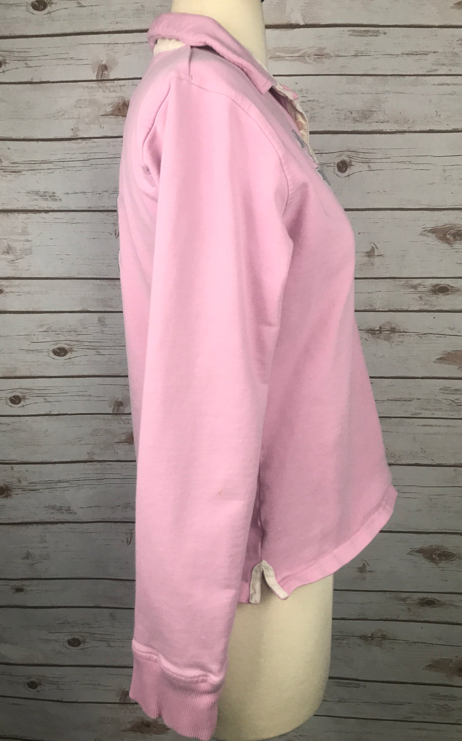 Joules Polo Sweatshirt in Pink -  Right Side View