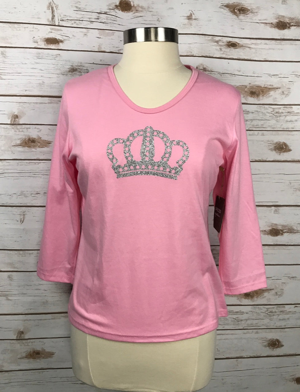 Spiced Equestrian Crown Tee in Pink - Women's Large
