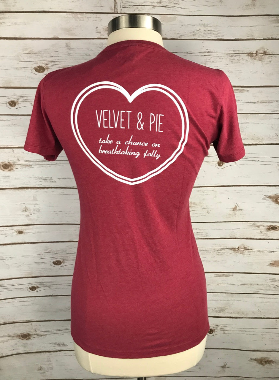 Velvet and Pie Tee in Cranberry - Women's Large