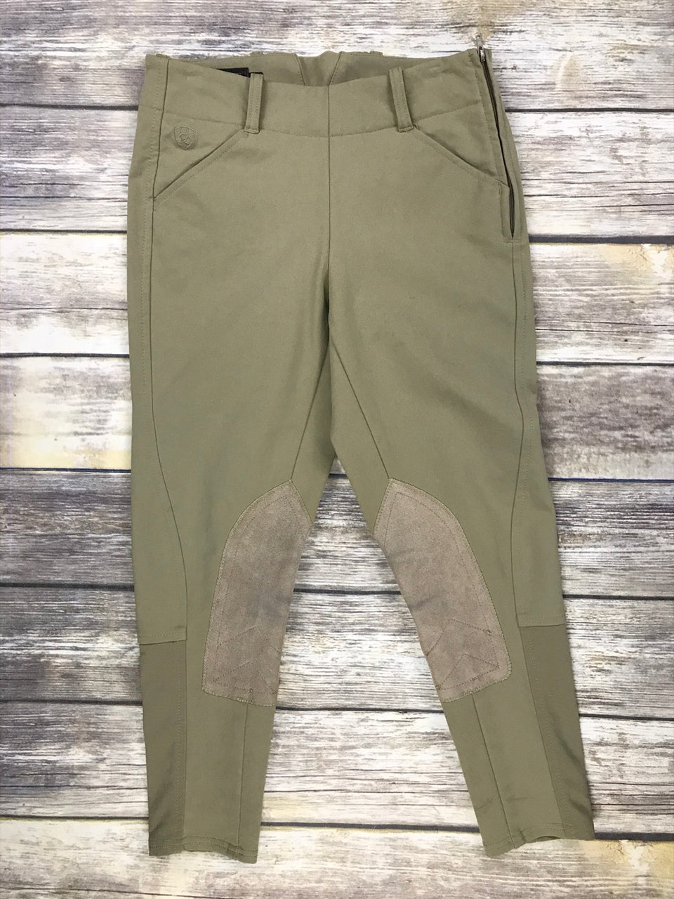 Ariat Pro Series Side Zip Breeches in Beige - Children's 10R