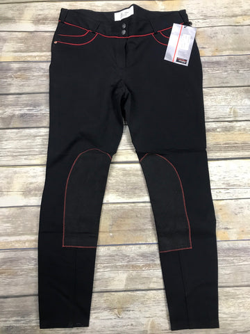Lo-Ride Breeches in Black/Red -  Front View