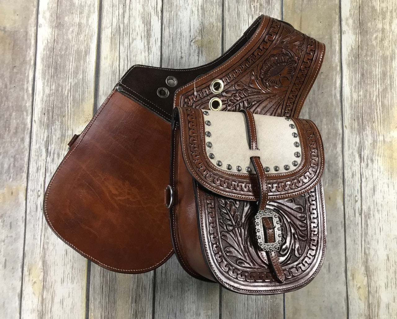 Tooled Leather Saddle Bags in Brown - One Size