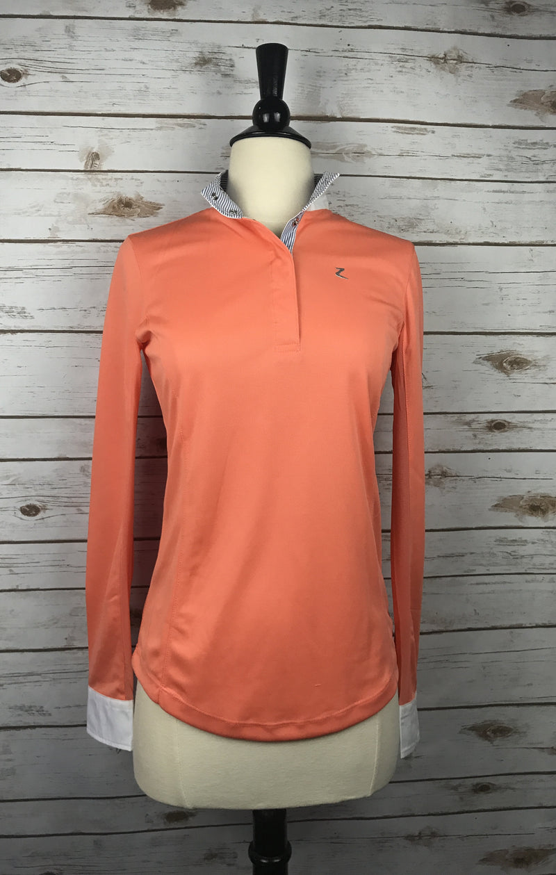 Horze Blaire Long Sleeve Functional Show Shirt in Coral - Women's 6