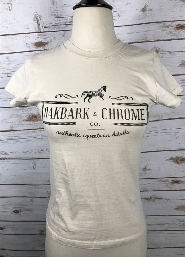 Oakbark and Chrome Logo Tee in Butter Yellow  - Women's Small